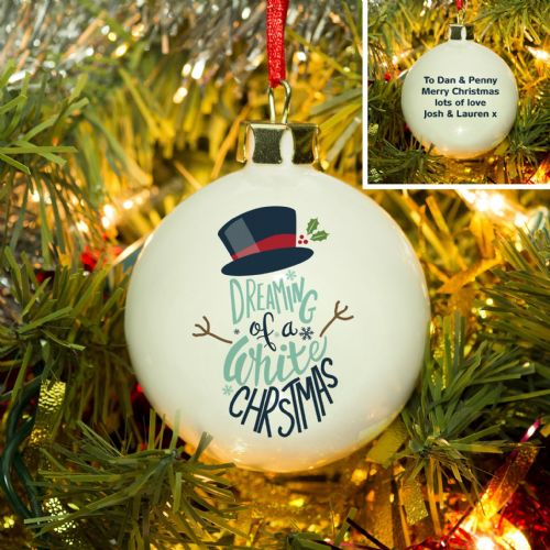 Personalised White Christmas Bauble